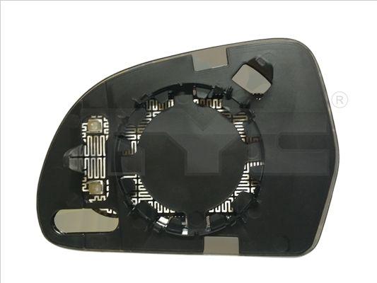 Sklo pravého vnějšího zrcátka vyhřívané asférické TYC 302-0073-1 pro Škoda Octavia 2, Superb 2, Audi