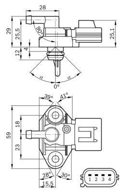 Snímač plniaceho tlaku BOSCH 0 261 230 101 0 261 230 101