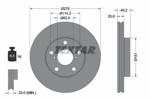 Sada brzdových platničiek kotúčovej brzdy TEXTAR 2265501 2265501