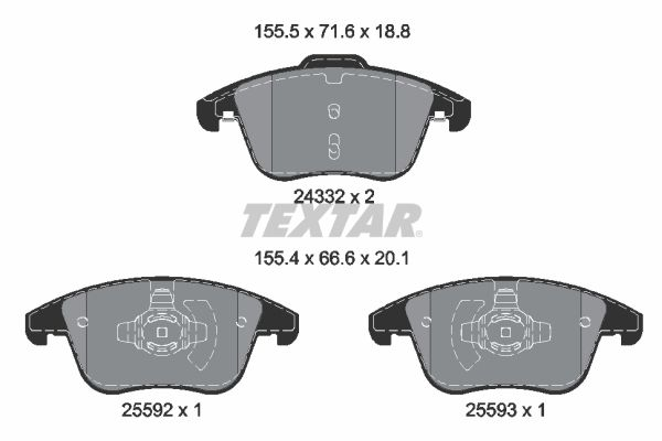 Sada brzdových platničiek kotúčovej brzdy TEXTAR 2433205 2433205