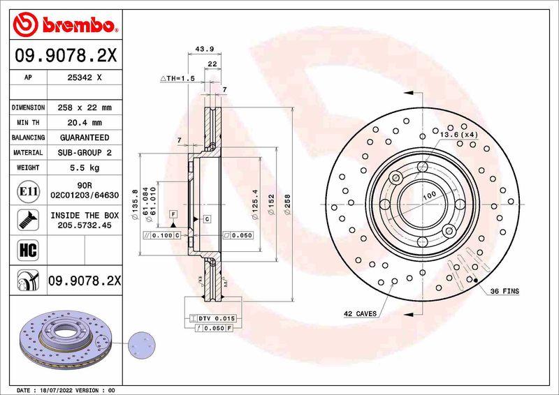Brzdový kotúč BREMBO 09.9591.10 09.9591.10
