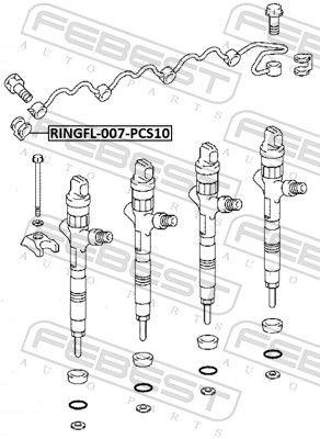 Tesniaci krúżok vstrekovacieho ventilu FEBEST RINGFL-007-PCS10 RINGFL-007-PCS10