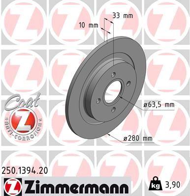 Brzdový kotouč ZIMMERMANN 250.1394.20