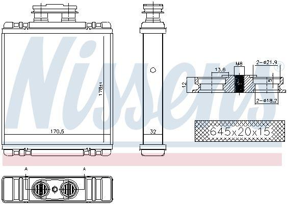 Olejový chladič, motorový olej NISSENS 91165